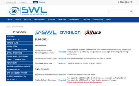 Screenshot of Support Page swl.co.nz - SWL Downloads - captured Oct. 1, 2018