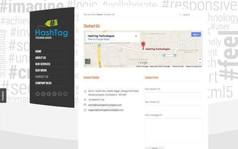 Screenshot of Contact Page hashtagtechnologies.com - Contact Us | HashTag Technologies - captured Sept. 19, 2014