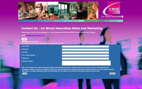 Screenshot of Contact Page lizwoodassociates.co.uk - Contact Us | Liz Wood Associates - LWA Sales and Marketing Hotel Sales and Marketing Company - captured Oct. 3, 2014