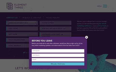Screenshot of Contact Page elementthree.com - Contact | Element Three | Indianapolis – Element Three - captured Dec. 12, 2015