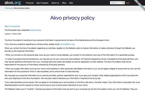 Screenshot of Privacy Page akvo.org - Akvo privacy policy | Akvo.org - captured Sept. 13, 2014