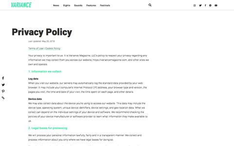Screenshot of Privacy Page variancemagazine.com - Privacy Policy - captured Sept. 21, 2018