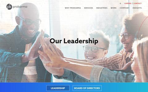 Screenshot of Team Page prokarma.com - Leadership - ProKarma - captured March 22, 2018