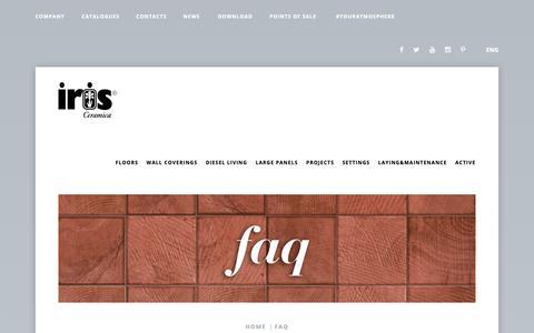 Screenshot of FAQ Page irisceramica.com - Iris Ceramica: Faq - captured Nov. 6, 2018