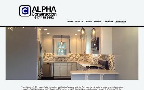 Screenshot of Testimonials Page alpha-boston.com - ALPHA CONSTRUCTION: Belmont, MA - Custom Remodeling and General Contractor - Testimonials - captured Feb. 5, 2016