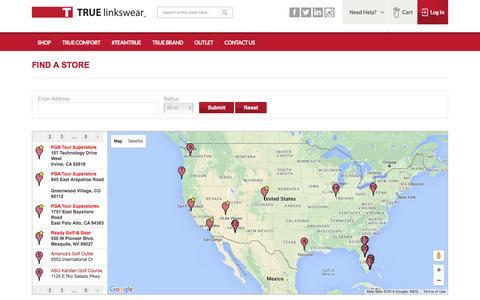 Screenshot of Maps & Directions Page truelinkswear.com - / TRUE Linkswear - captured Jan. 17, 2016