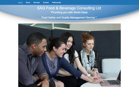 Screenshot of Home Page sagbevconsult.com - SAG Food & Beverage Consulting Ltd - captured Oct. 3, 2014