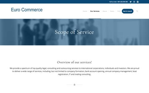 Screenshot of Services Page eurocommercellc.com - Scope of Services - Euro Commerce - captured Dec. 8, 2018