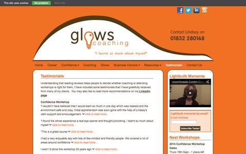 Screenshot of Testimonials Page glows-coaching.co.uk - Testimonials -   - captured Sept. 30, 2014
