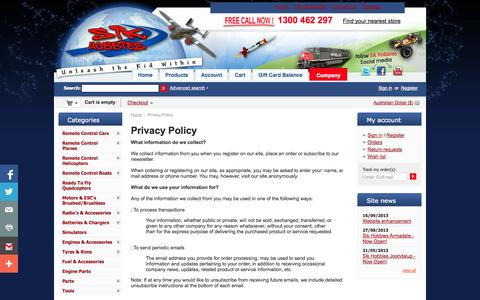 Screenshot of Privacy Page sikhobbies.com.au - Privacy Policy - Sik Hobbies Perth Hobby Shop - captured Oct. 26, 2014