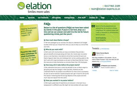 Screenshot of FAQ Page elation-experts.co.uk - FAQs - Elation Experts - captured Jan. 22, 2017