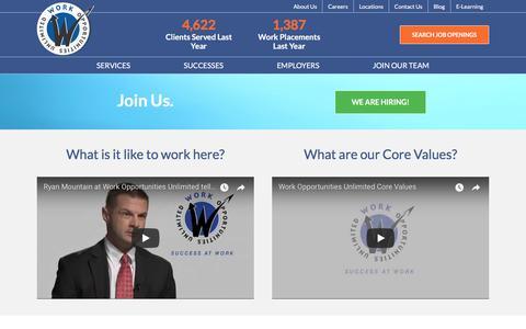 Screenshot of Jobs Page workopportunities.net - Careers - Work Opportunities Unlimited - captured Sept. 22, 2018