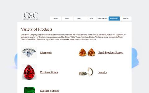 Screenshot of Products Page gemstonehk.com - Gem Stone Company - Products - captured July 24, 2017