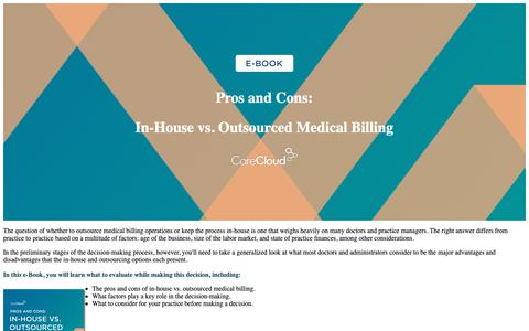 Screenshot of Landing Page carecloud.com - CareCloud | In-House vs. Outsourced Medical Billing Ebook - captured Feb. 6, 2019