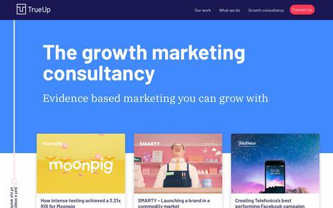 Screenshot of Home Page trueup.com - TrueUp - The London Growth Hacking Agency - captured Jan. 21, 2019
