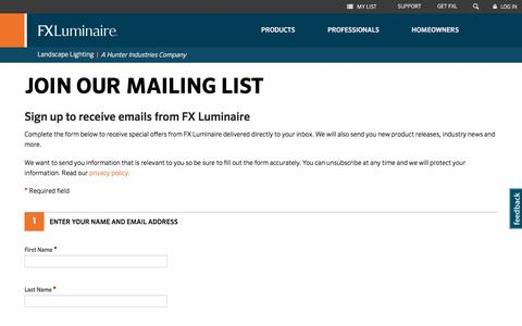 Screenshot of Signup Page fxl.com - Join our mailing list | FX Luminaire - captured Sept. 22, 2018