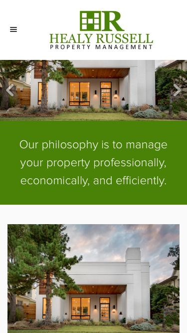 Screenshot of Home Page  healyrussell.com - Healy Russell Property Management
