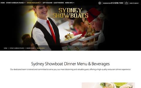 Screenshot of Menu Page sydneyshowboats.com.au - Deluxe 3-Course Dinner Cruise Menu   Sydney Showboats - captured Aug. 15, 2016