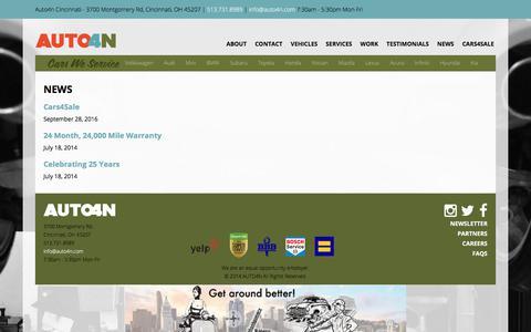 Screenshot of Press Page auto4n.com - News | Auto4n Cincinnati - captured July 31, 2018
