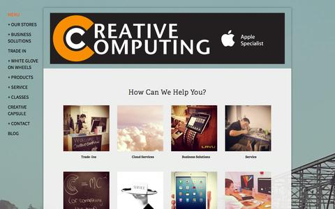 Screenshot of Home Page Menu Page creativecomputing.com - Creative ComputingCreative Computing - Apple Specialist - captured Oct. 3, 2014