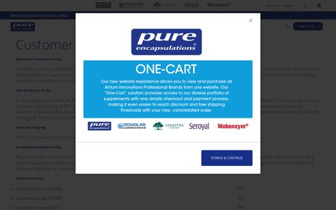 Screenshot of Support Page pureencapsulations.com - Customer Service - captured July 24, 2019