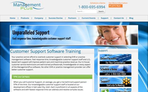 Screenshot of Support Page managementplus.com - Customer Support and Training - Management Plus - captured Oct. 29, 2014