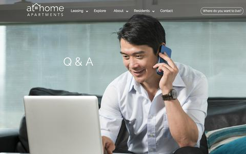 Screenshot of FAQ Page athomeapartments.com - Questions Welcome | FAQ | At Home Apartments - captured July 31, 2018