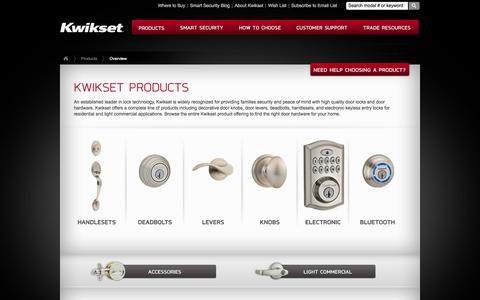Screenshot of Products Page kwikset.com - Products Overview | Kwikset – Handlesets, Deadbolts, Levers, Decorative Door Knobs, Electronic & Bluetooth - captured Aug. 19, 2018