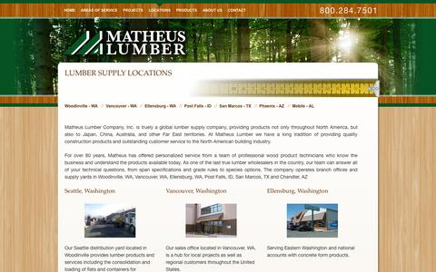 Screenshot of Locations Page matheuslumber.com - Lumber Supply Locations - Matheus Lumber - captured Oct. 27, 2014