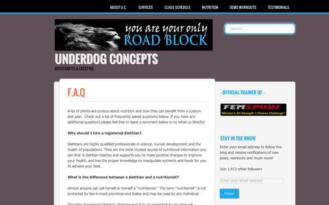 Screenshot of FAQ Page wordpress.com - Underdog Concepts | F.a.Q - captured Sept. 12, 2014