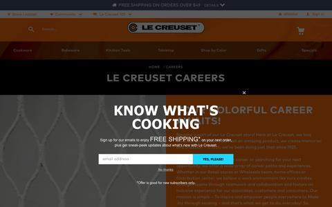 Screenshot of Jobs Page lecreuset.com - Careers   Le Creuset® Official Site - captured July 20, 2019