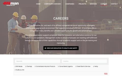 Screenshot of Jobs Page milman.ca - Careers – Milman Industries Inc. - captured Dec. 6, 2016