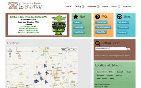 Screenshot of Locations Page mycdl.org - Locations - captured Oct. 8, 2014