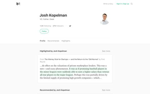 Josh Kopelman – Medium
