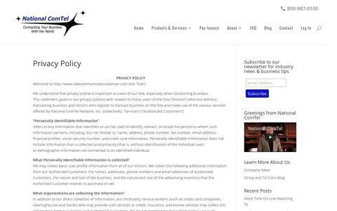 Screenshot of Privacy Page telecommunicationsdenver.com - Privacy Policy - National ComTel - captured Dec. 3, 2016
