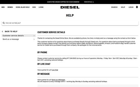 Screenshot of Contact Page diesel.com - CUSTOMER SERVICE DETAILS - captured Oct. 27, 2019