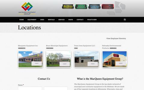 Screenshot of Contact Page Locations Page macqueeneq.com - MacQueen Equipment Group | Locations - captured Oct. 23, 2014