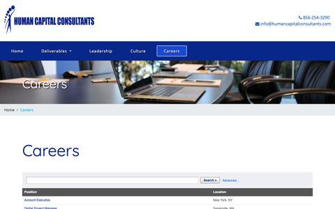 Screenshot of Jobs Page humancapitalconsultants.com - Human Capital Consultants | Careers - captured Nov. 11, 2018