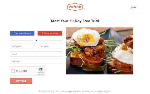 Screenshot of Trial Page pannacooking.com - Start Your 30 Day Free Trial | Panna - captured May 9, 2017