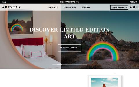 Screenshot of Home Page artstar.com - ArtStar - Don't Just Decorate, Curate - captured July 30, 2018