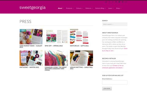 Screenshot of Press Page sweetgeorgiayarns.com - Press - SweetGeorgia Yarns - captured Oct. 9, 2014