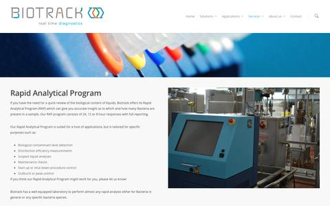 Screenshot of Services Page Trial Page biotrack.nl - Rapid Analytical Program |  Biotrack - captured Oct. 5, 2018