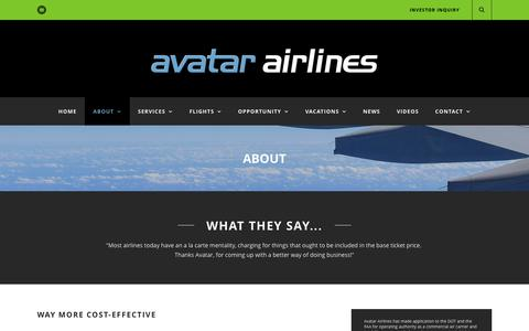 Screenshot of About Page avatarairlines.com - Avatar Airlines  About - Avatar Airlines - captured Feb. 6, 2016