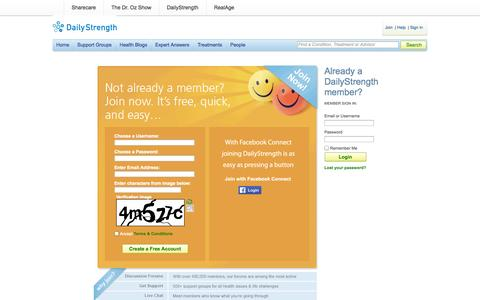 Screenshot of Signup Page dailystrength.org - Support Groups at DailyStrength - captured Sept. 12, 2014