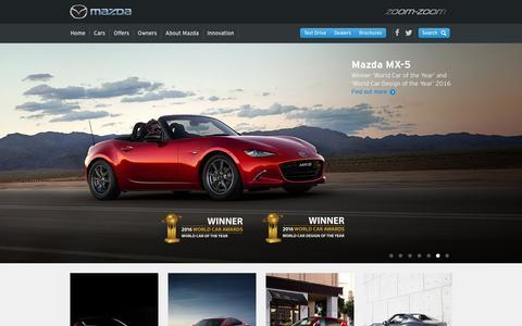 Screenshot of Home Page mazda.com.au - Mazda Australia – Reviews, Offers, Dealerships – ZoomZoom - captured Nov. 27, 2016