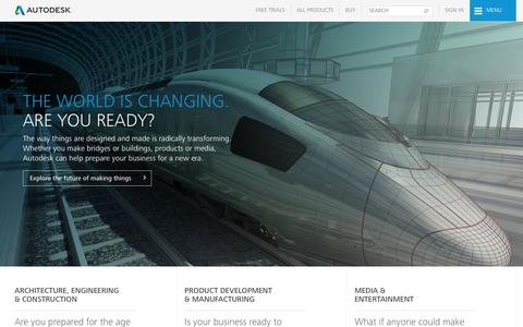 Screenshot of Home Page autodesk.com - Autodesk | 3D Design, Engineering & Entertainment Software - captured Aug. 2, 2016