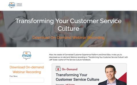 "Screenshot of Landing Page m-ize.com - A Webinar on ""Transforming Your Customer Service Culture"" with Jeff Toister, Author of The Service Culture Handbook. (On-Demand) - captured March 5, 2018"