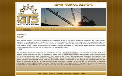Screenshot of About Page gts.co.bw - Welcome to :: GTS (GIDARY TECHNICAL SOLUTIONS) :: About Us - captured Oct. 2, 2014