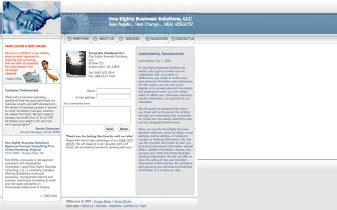 Screenshot of Privacy Page Contact Page 180biz.com - One Eighty Business Solutions: Contacts - captured Oct. 26, 2014