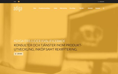 Screenshot of Home Page adiga.se - Adiga - konsulter och tjänster inom produktutveckling, inköp samt rekrytering - captured Oct. 7, 2017